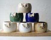 SHIPPING JANUARY - Butterfly yarn bowl, hand thrown custom pottery yarn bowl