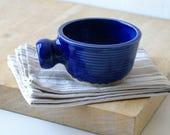 Stoneware shaving bowl glazed in ocean blue - hand thrown british pottery