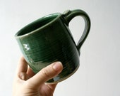 Two tankard style stoneware pottery tea mugs - glazed in forest green