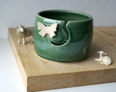 DISPATCHING ASAP - Butterfly yarn bowl hand thrown pottery yarn bowl in forest green