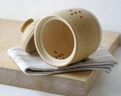 Wheel thrown stoneware pottery garlic jar - glazed in natural brown