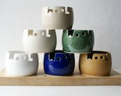 Choose your colour - Wool yarn bowl, hand thrown custom pottery yarn bowl