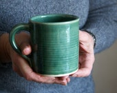 Set of two funnel mugs glazed in forest green - hand thrown stoneware pottery
