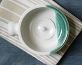 Stoneware shaving bowl glazed in brilliant white and green - hand thrown british pottery