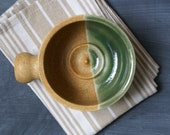 Stoneware shaving bowl glazed in natural brown and green - hand thrown british pottery