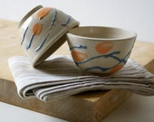 Set of two snack bowls in simply clay with splatter design - hand thrown tapas style dishes