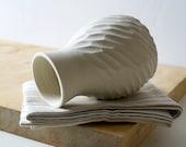 Textured bottle flower bud vase - glazed in vanilla cream