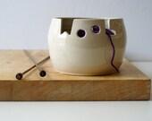 DISPATCHING ASAP - Wool ceramic yarn bowl glazed in simply clay