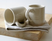 Set of two funnel mugs glazed in simply clay - hand thrown stoneware pottery