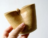 Folded pouring jug for milk - glazed in natural brown