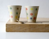 SECONDS SALE - Set of two stoneware pottery beakers in simply clay with polka dot pattern