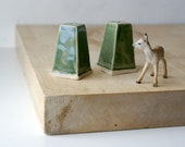 Set of two square bathroom light pulls - glazed in forest green