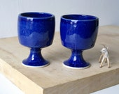Set of two handmade pottery wine goblets - glazed in ocean blue