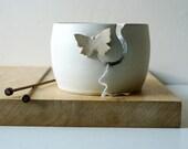DISPATCHING ASAP - Butterfly pottery yarn bowl glazed in vanilla cream