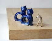 Cat napkin rings - set of two glazed in ocean blue