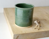 Ceramic utensil holder - glazed in forest green