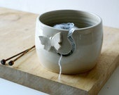 DISPATCHING ASAP - Butterfly pottery yarn bowl glazed in simply clay