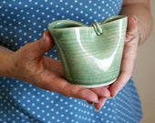 Folded stoneware pouring jug for milk - glazed in forest green