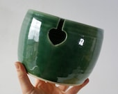 DISPATCHING ASAP - Love heart yarn bowl glazed in forest green