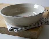 One hand thrown serving dish - shallow serving bowl in simply clay