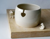 DISPATCHING ASAP - Love heart yarn bowl hand thrown stoneware knitting bowl in simply clay