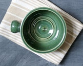Stoneware shaving bowl glazed in forest green - hand thrown british pottery