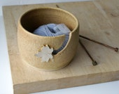DISPATCHING ASAP - Autumn leaf yarn bowl hand thrown custom pottery yarn bowl in natural brown