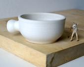 Stoneware shaving bowl glazed in vanilla cream - hand thrown british pottery