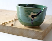 SECONDS SALE - Pottery yarn bowl with little star hook in forest green