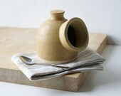 Minature pottery salt pig for your kitchen - wheel thrown and glazed in natural brown
