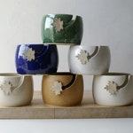 Choose your colour - Autumn leaf yarn bowl, hand thrown custom pottery yarn bowl