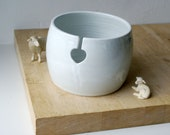 DISPATCHING ASAP - Love heart yarn bowl hand thrown stoneware knitting bowl in brilliant white