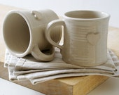 Set of two heart mugs glazed in simply clay - hand thrown stoneware pottery
