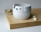 DISPATCHING ASAP - Wool yarn bowl hand thrown custom pottery yarn bowl in brilliant white