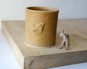 Ceramic utensil holder - glazed in natural brown with little wren motif