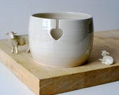 DISPATCHING ASAP - Love heart yarn bowl glazed in simply clay