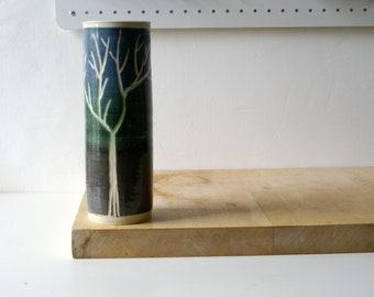 Slight seconds - Tall ceramic vase with winter tree design