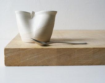 Folded stoneware pouring jug for milk - glazed in vanilla cream