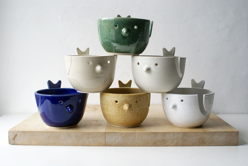 Choose your colour  The little wren bird pottery yarn bowl image 0