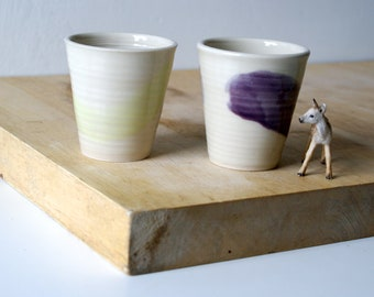 Set of two stoneware pottery beakers - glazed in simply clay
