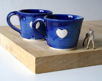 SECONDS SALE - Set of two ocean blue heart mugs