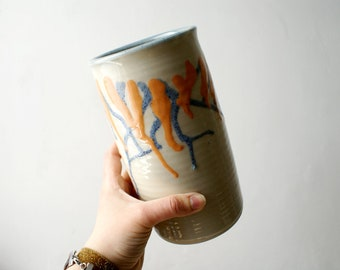 Vase with blue and orange drip effect - glazed in simply clay