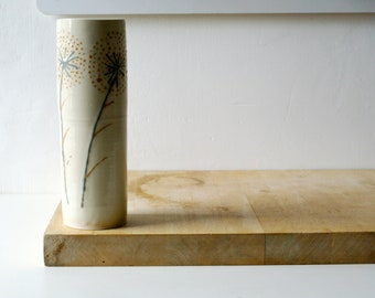 Tall ceramic vase with dandelion design - glazed in simply clay