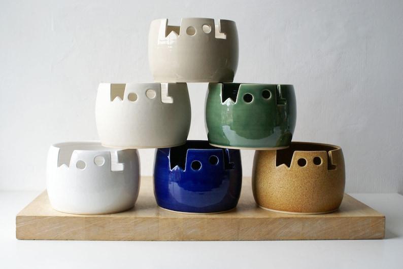 Choose your colour  Wool yarn bowl hand thrown custom image 0