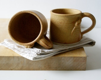 Set of two mouse mugs glazed in natural brown - hand thrown stoneware pottery
