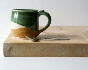 Two tankard style stoneware pottery tea mugs - glazed in green and brown