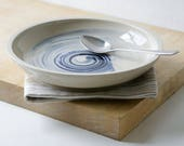 One hand thrown serving bowl - shallow serving bowl with blue swirl