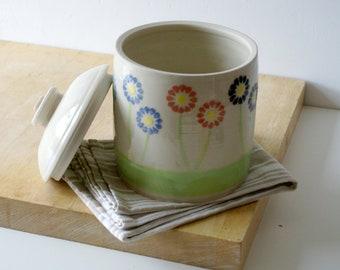 Lidded kitchen jar - daisy flowers design jar glazed in simply clay