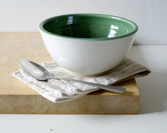 Pottery serving bowl - wheel thrown and glazed in white and forest green