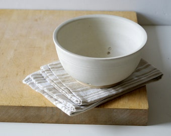 Pottery colander berry bowl - wheel thrown and glazed in vanilla cream